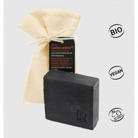 Jabón de Carbón Activo con Aceite Esencial de Hierbabuena 100g
