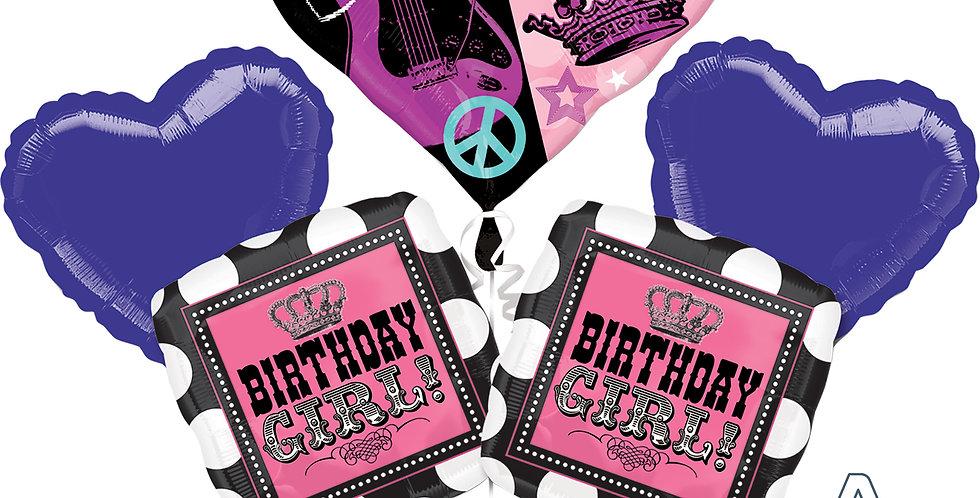Rock Star Birthday Girl Balloon Bouquet