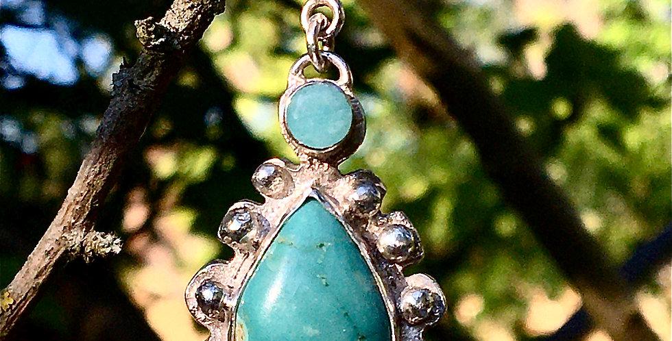 Tibetan Turquoise silver pendant & facet Amazonite