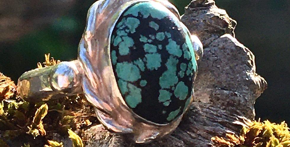Tibetan Turquoise silver ring .