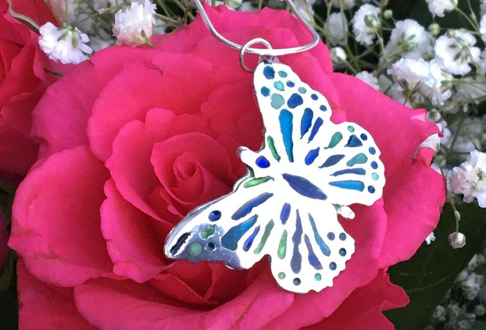 Silver Enamelled butterfly