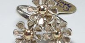 Triple Daisy silver Ring with 9carat gold centres.
