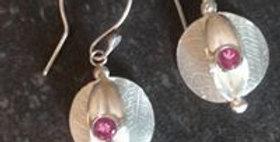 Pink Tourmaline seed pod earrings