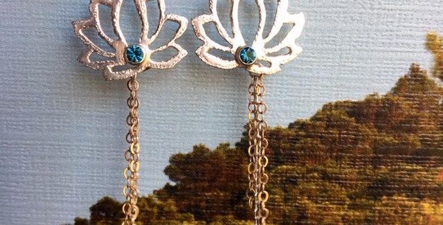 Lotus earrings with gems