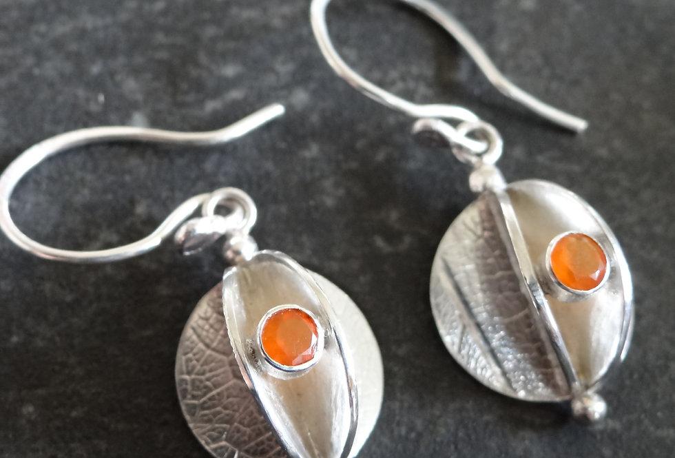 Carnelain seed pod earrings