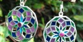 Star of life earrings with Rhodalite garnet