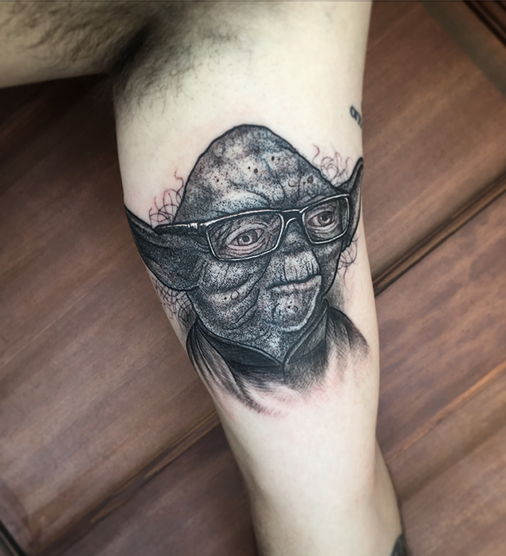 Yoda Portrait Tattoo