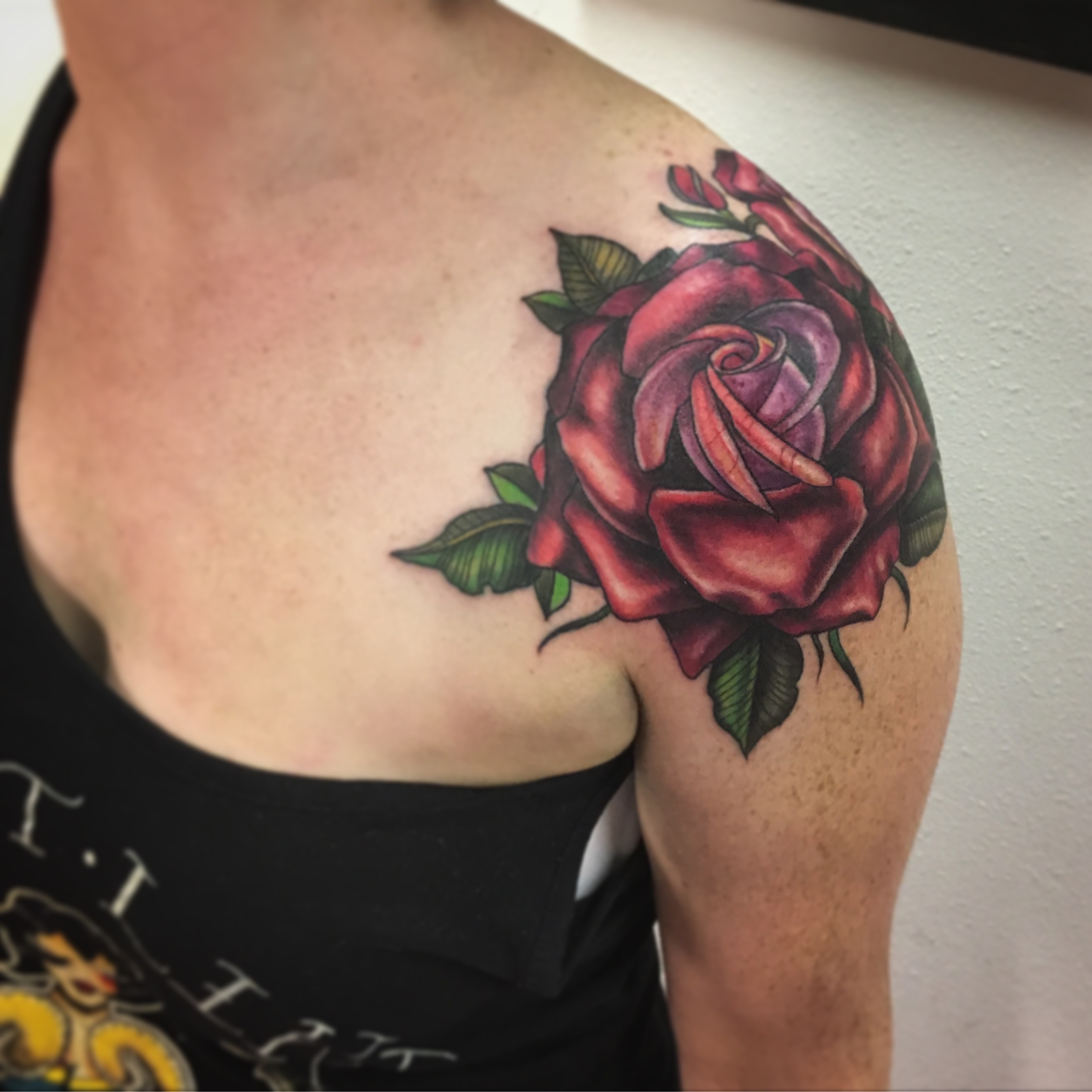 Neotraditional Rose Tattoo