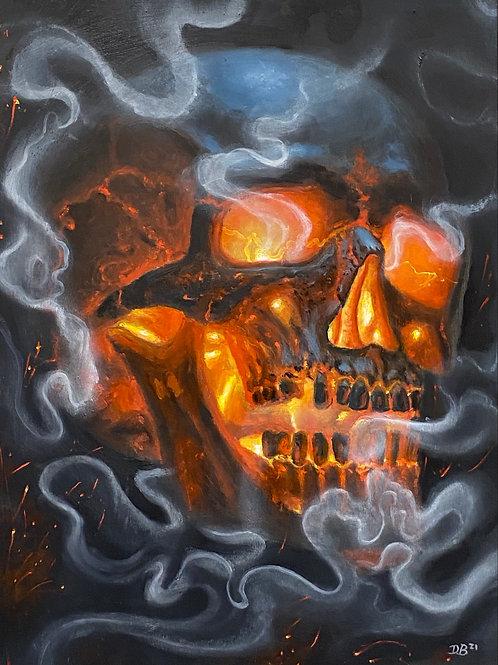 Nap Time Smoke Skull - Original by Dave Barton