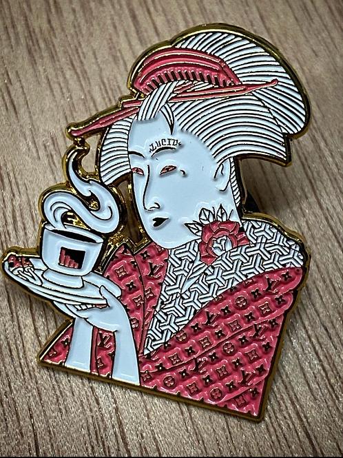 Mushroom Tea Geisha Enamel Pin (GOLD + PINK)