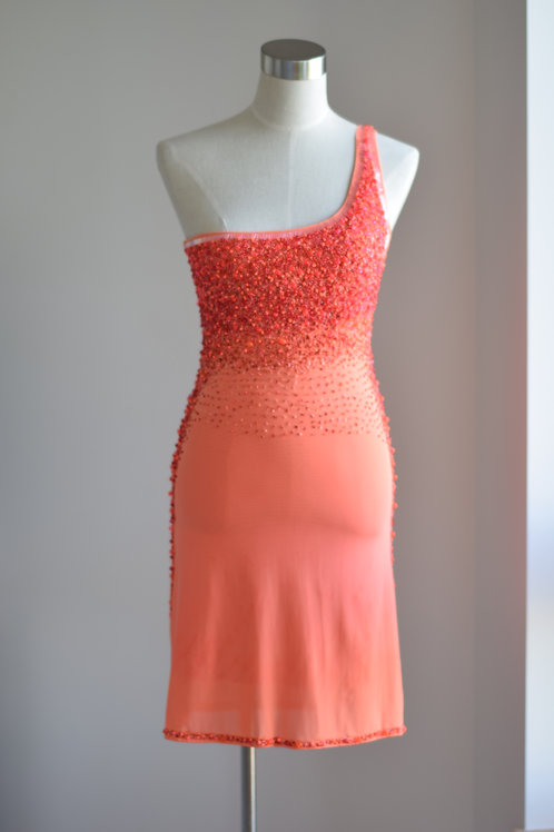 CORAL GLASS BEADED DRESS