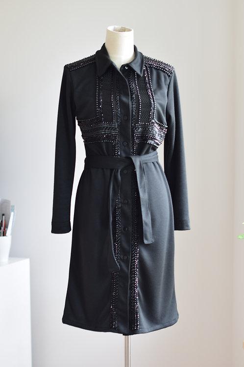 BLACK GRAPHICAL SHIRT DRESS