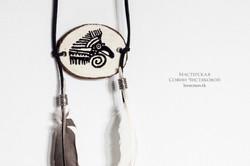 Подвеска бохо с перьями индейские мотивы №1