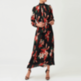 forever-unique-floral-print-pleated-long