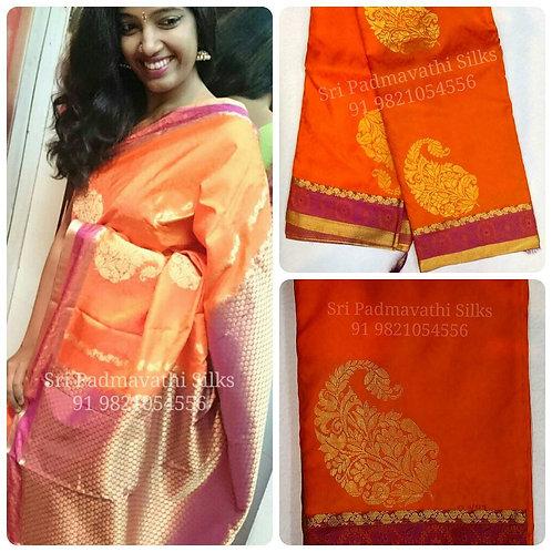 Dhriti - Kancheepuram handloom pure silk bridal brocade saree