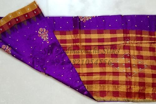 Shriya: Pure Kancheepuram Silk Saree-checks border