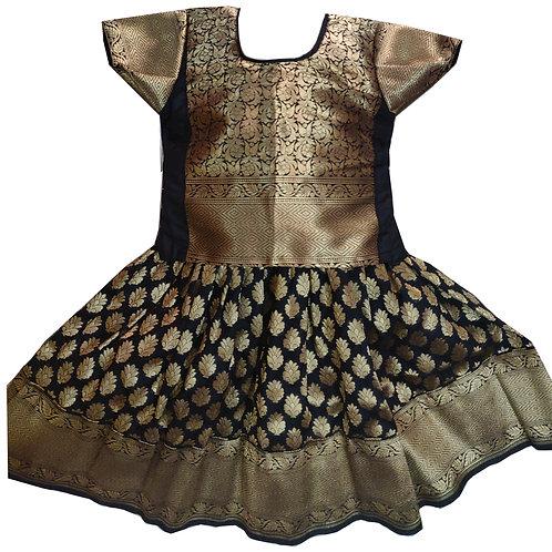 Black with Golden Kancheepuram Pure Pattu Pavada for 1 year old