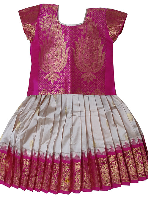 Pearl white with Pink Pattu Pavada for 1 year old