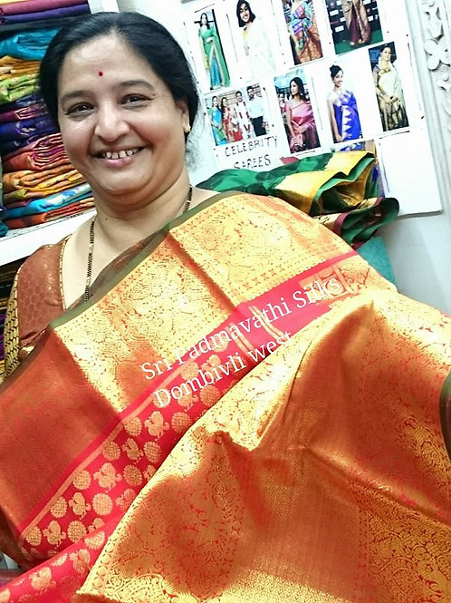 Pure Kancheepuram Brocade Silk Saree - Red/Green