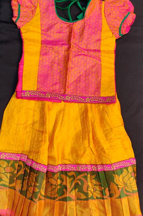 Pattu Pavada Pure Kancheepuram Silk for 1 year old baby girl