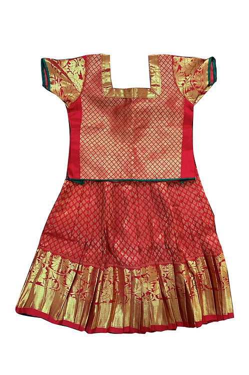 Kancheepuram Pure Silks Ethnic Pattu Pavada (Parkar Polka) for 1 year baby girl