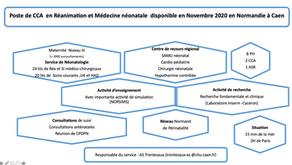 Poste de CCA en Réanimation et Médecine Néonatale au CHU de Caen en novembre 2020.