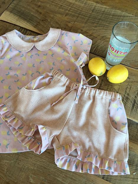 citrons jaune imprimé citron short élastique été vêtement été lin et citron