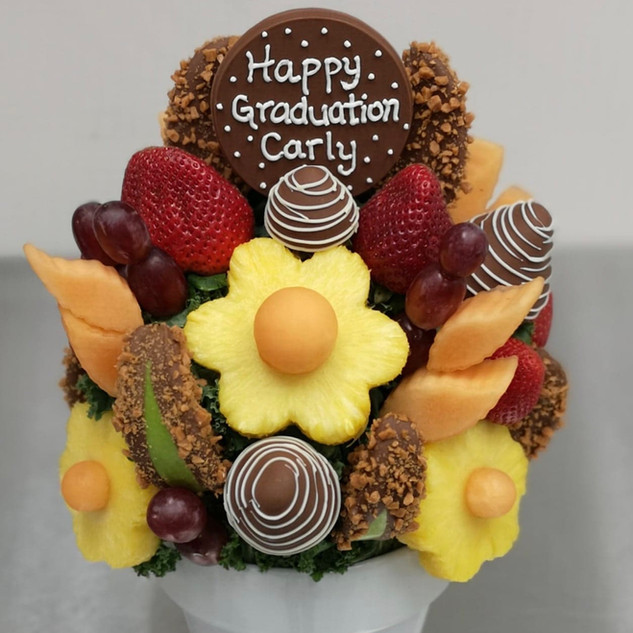 Apple Crunch Delight customized for graduation, plus cantaloupe in lieu of honeydew