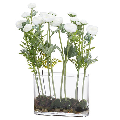 Ranunculus Arrangement in Glass Pot