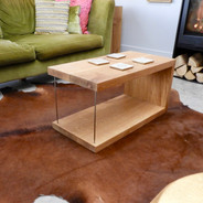 Oak coffee table with stainless steel