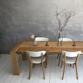 Brown Ash 10 seater table with inlayed brass bead