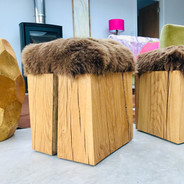 Oak stool with sheepskin