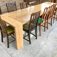 Oak 12 seater table with mix and match antique chairs