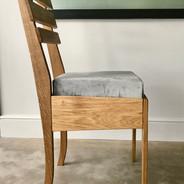 oak and velvet dining chair