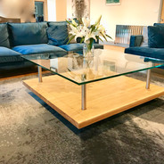 Glass, stainless steel and oak coffee table, 1200mm square