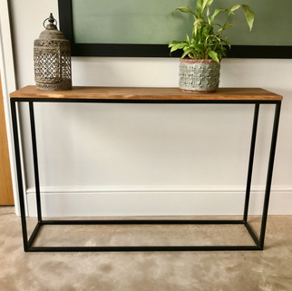 oak and steel box section console table