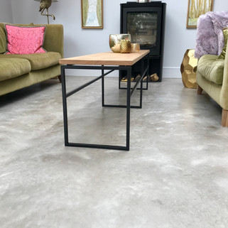 oak and steel box section coffee table