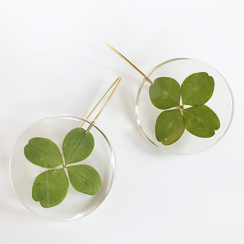 Eco-Resin Medium Full Moon Clover Earrings by Belart