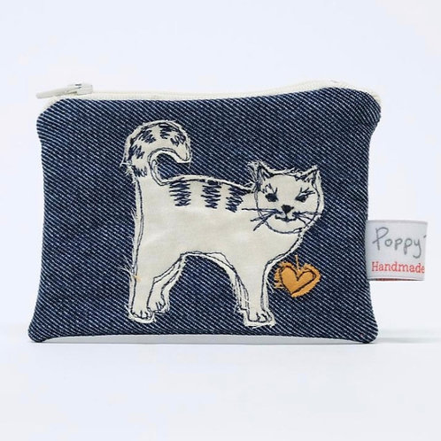 Embroidered Small Cat Purse by Poppy Treffry