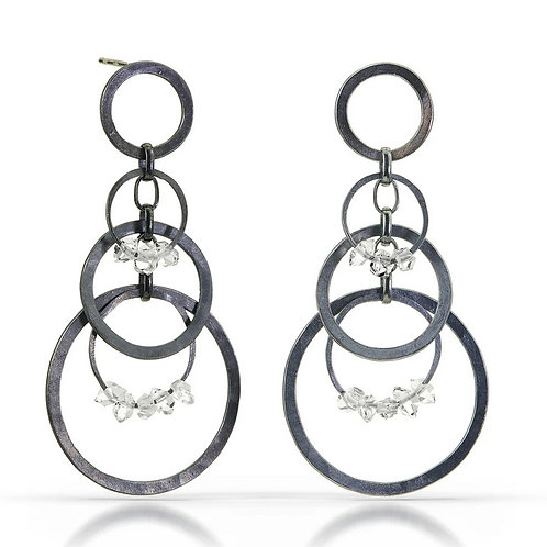 Small Circle Bunches with Herkimer Diamonds Earrings by Heather Guidero