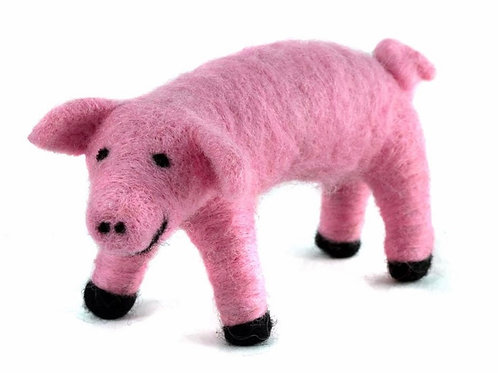 Pig Hand Felted Wool Animal Ornament by Mayan Hands