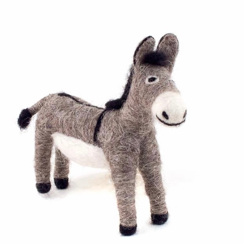 Donkey Hand Felted Wool Animal Ornament by Mayan Hands