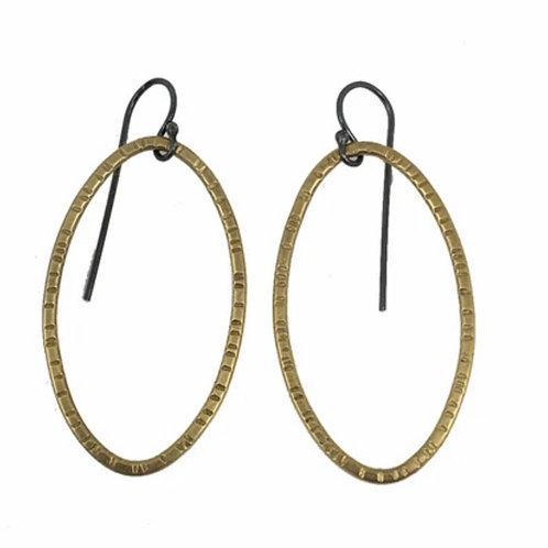 Hatch Oval Drop Earrings by Lisa Crowder