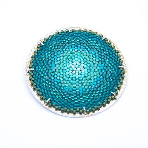 Round Flat Turquoise Brooch by Claudia Fajardo
