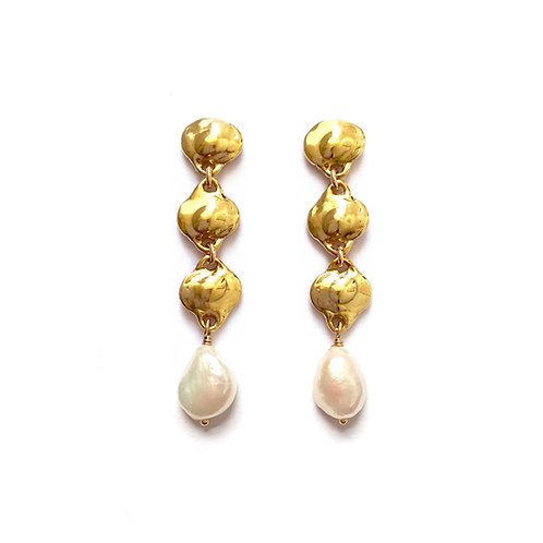Lorelei Earrings with Pearls  by Goldeluxe Jewelry