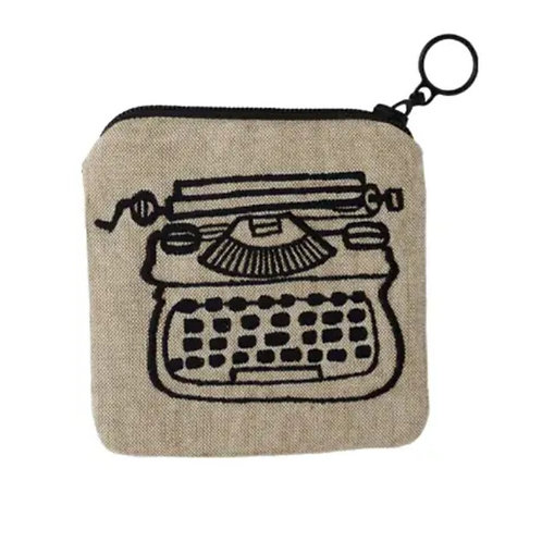 Embroidered Typewriter Zippee Coin Pouch by Ore Originals