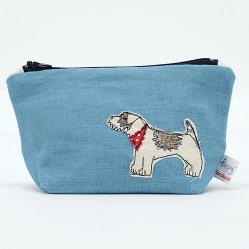 Little Embroidered Dog Makeup Bag by Poppy Treffrey