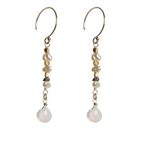 Moonstone, Raw Diamond & Keishi Pearl Earrings by Tracy Arrington