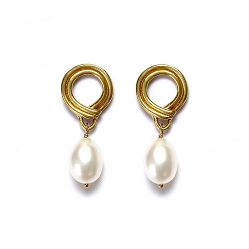 Sunrise Earrings with Pearl Drop by Goldeluxe Jewelry
