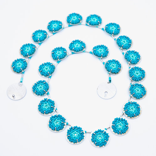 Turquoise 23-Piece Flat Round Necklace by Claudia Fajardo